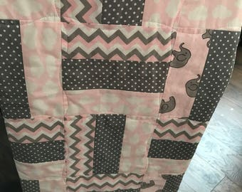 Elephant Grey and Pink Baby Girl Quilt