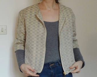 Mid season in linen and cotton jacket graphic sleeve three quarts