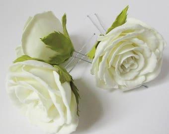 Wedding hair pins Flower hair pins Bridal hair pin White hair pins Set bridal hair pins Bridesmaid accessory Traditional wedding Rose hair