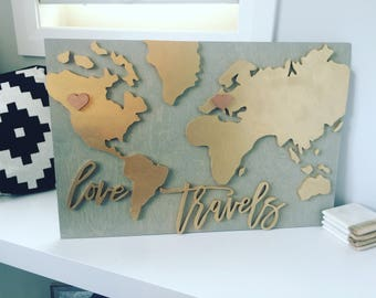 Love travels world map, world map, world traveler map, world map wall art, world map wood