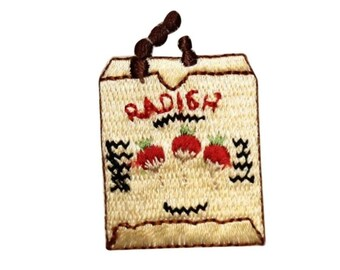 ID 1234A Radish Bag Patch Farming Sack Picking Embroidered Iron On Applique