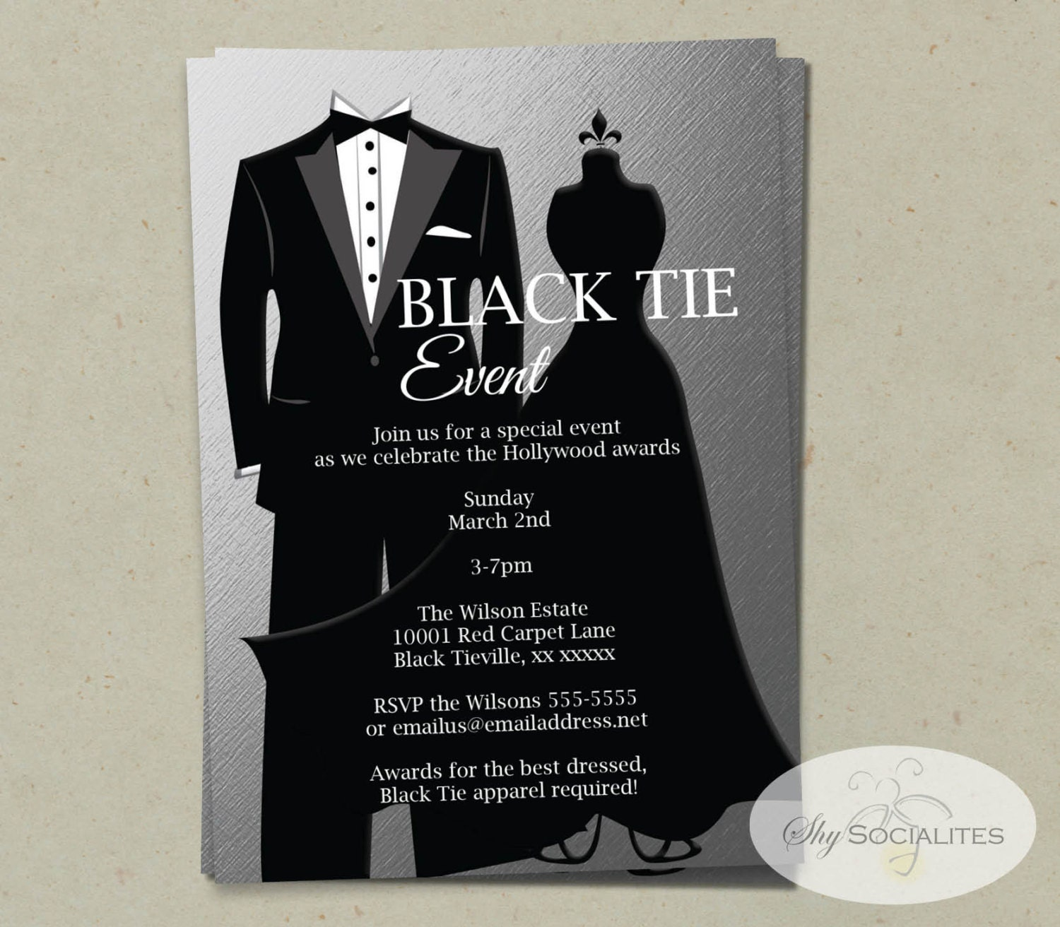 Silver Black Tie Invitation Instant Download Faux Foil