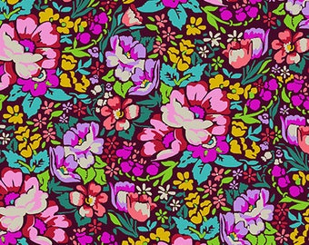 In stock Overachiever in burgundy from the Floral Retrospective fabric collection by Anna Maria Horner for Free Spirit fabrics