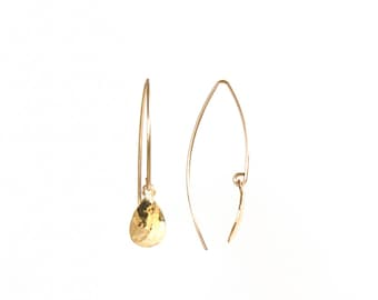 Comet Earrings - textured brass teardrop - as seen at Macy's