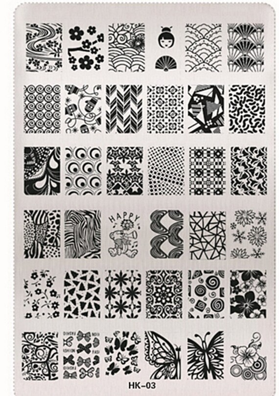 Animal Floral Design Stencils For Nails Nail Art Stamping Plates ...