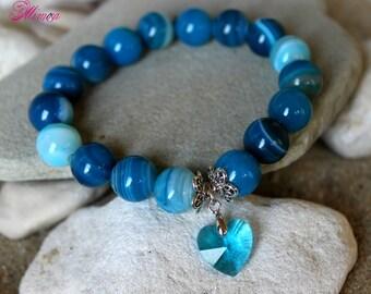 Blue Agate Bracelet, Banded Agate Bracelet, Agate Wrist Mala, 12mm Agate Bracelet, Stretch Agate Bracelet, Blue Bead Bracelet, Blue Agate