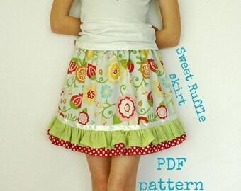 Twirl skirt pattern, Girls skirt pattern, pdf sewing pattern, Infant skirt pattern, Easy sewing pattern - Sweet Ruffle skirt pattern (S110)