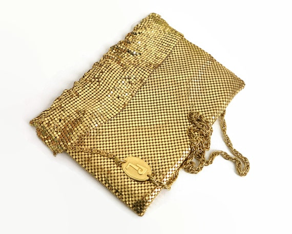 Vintage gold mesh shoulder bag with foldover mesh frill at the top, complex gold metal chain, Park Lane, made in Australia, 1970s