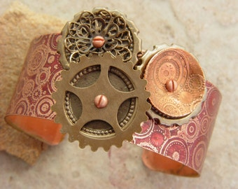 Embellished and Etched Copper Cuff Bracelet, Burgundy Steampunk and Circles, 1""