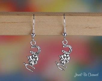 Good Luck Charm Earrings Sterling Silver Clover Horseshoe Lucky .925