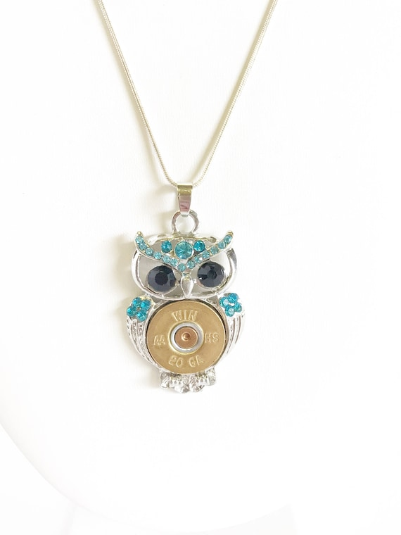 Shotgun Shell Necklace, Blue Crystal Owl 20 Gauge Pendant, Owl Gift For Her, Shooting Sports Jewelry Gift, Southwestern Style Wife Jewelry