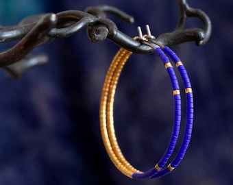 Blue and gold hoop earrings mad of pure titanium and glass beads - hypoallergenic