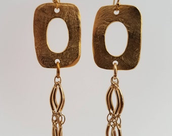 Gold Dangle Earrings with Gold Chain