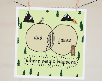 Dad Jokes Card | Funny Father's Day Card | Funny Card for Dad | Father's Day Card | Dad Birthday Card | New Dad Card  | Venn Diagram Card