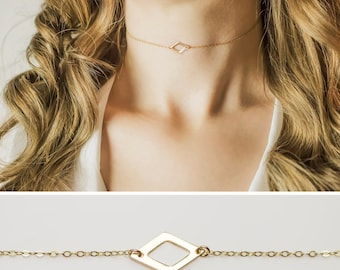 14K Gold Diamond Choker Necklace / Dainty Choker Necklace / Gold, Rose Gold or Sterling Silver Choker Chain / Gifts for Her /Triangle Choker