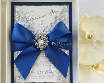 Royal Blue and Silver Invitation