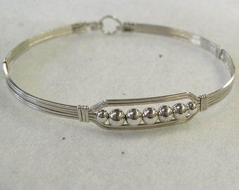 Sterling Silver Bracelet - Five Little Silver Beads Wire-Wrapped Bracelet - Silver Wire Bead Bracelet - Gift For Her - Affordable Bracelet