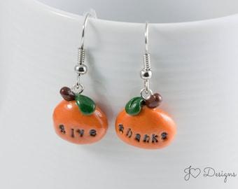 Thanksgiving Earrings, Pumpkin Earrings, Fall Earrings, Autumn Earrings, Thanksgiving Jewelry, Give Thanks Earrings