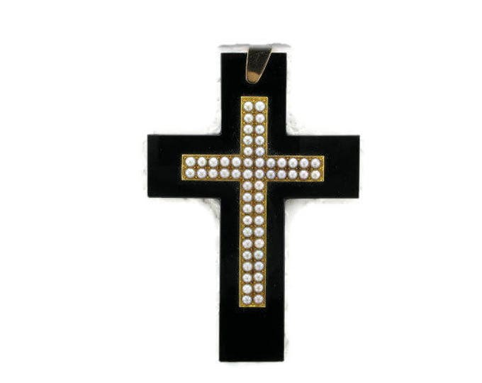 Yellow Gold Black Onyx and Pearl Cross, Black Onyx Cross, Antique Cross, Large Cross, Pearl Cross, Black Onyx and Pearl, Cross