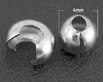 30 caches perles à écraser couleur platine (SANS NICKEL)