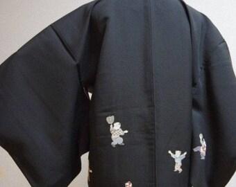 Quirky Vintage Japanese Ladies Black 'Children Playing' Kimono Haori Jacket XS/S