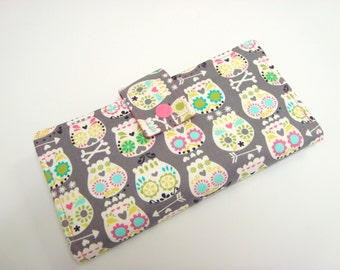 BiFold Long Wallet Clutch /Checkbook Cover - Bonehead Sugar Skull