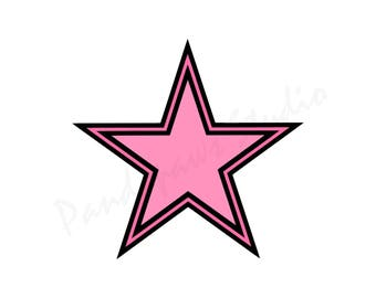 Star Cut Files SVG Studio 3 PDF File for Silhouette Studio Cricut Design Space and Brother Scan N Cut Canvas Svgs for Cutouts Cutout Pink