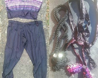Vintage Circus Performer Costume // Curvy Size // Sequin Tube Top // Harem Pants // Bow Tie