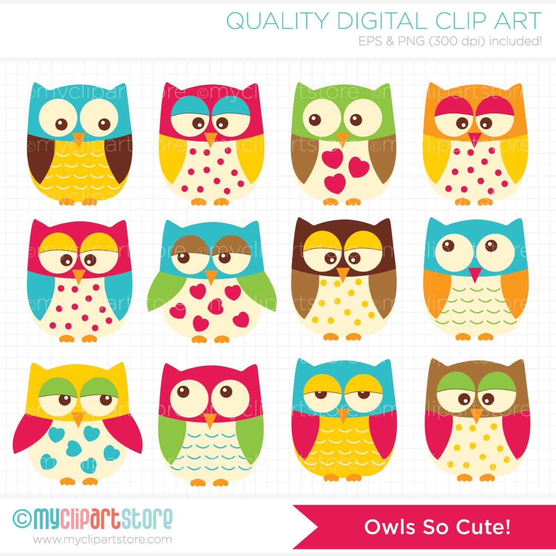 vector clipart owls so cute bright owls owl family rh etsy com etsy clipart free etsy clipart store