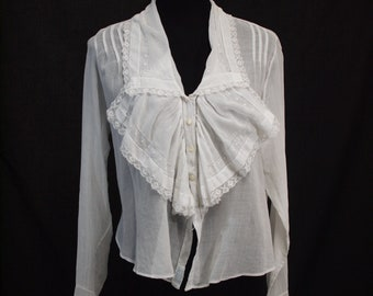 Late edwardian hand-sewn blouse with hand filet