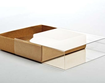 """5 Kraft Paper Box Bases with Clear Sleeves, A2 Size,  4 1/2"""" x 1"""" x 6"""" for Photos, Greeting Cards, Invitations, Etc"""
