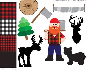 Commercial Use Clipart, Commercial Use Clip Art, Lumberjack Clipart, Lumberjack Party, Commercial License, Commercial Clipart, Lumberjack