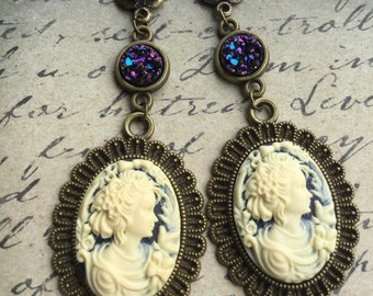 Navy Lady Cameo Earrings - Cameo Dangle Earrings - Cameo Jewelry - Victorian Style Cameo - Vintage Style Cameo - Gift For Her