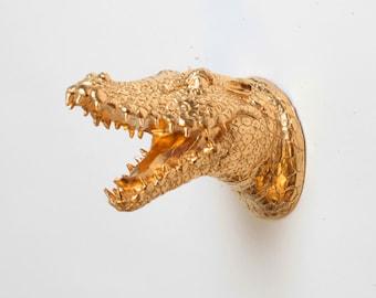 Mini Gold Alligator by White Faux Taxidermy - The MINI Gilt- Small Gold Resin Alligator Head- Chic Crocodile Head Wall art Decor