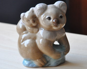 Szeiler Hand painted Koala and cub 1960s 1970s Vintage ornament, animal figurine