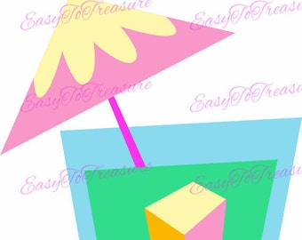 Digital Download Clipart –  Happy Hour Fruity Umbrella Drink 2 Clipart Design JPEG and PNG files