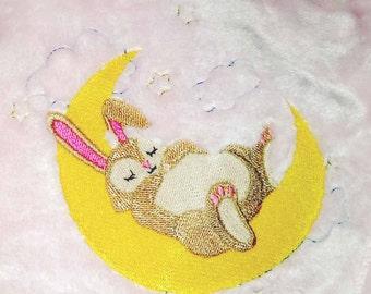 Bunny in the Moon Baby Blanket   Infant Blanket   Bunny Blanket   Baby Shower Gift   Baby Girl Gift   Baby Blanket   Personalized Blanket