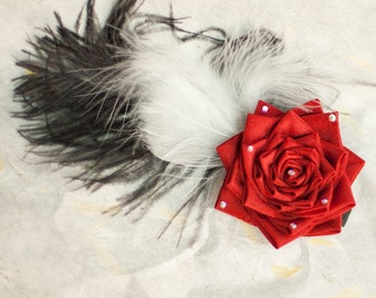 Red Rose, Feathers, Japanese Tsunami Kanzashi Silk Flower Fascinator Hair Clip, Burlesque Style, Romantic, Wedding, Prom, Clearance