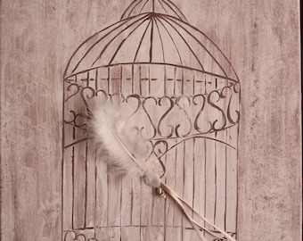 watercolor on canvas: the cage to hearts