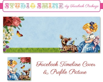 DIY Facebook Cover Package - Facebook Timeline Cover and Profile Picture - Woodland Darling - Blonde - Digital Instant Download