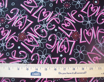 "1 New Valance UNlined 42""x14"" VALENTINE Hearts LOVE Words PINK Black"