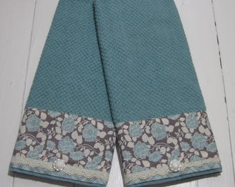 Kitchen Towel, Dish Towel, Dishtowels, Kitchen Towels,  Kitchen Linens, Dish Cloths & Kitchen Towels, Deep Teal with Floral Print Trim