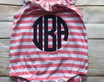 Monogrammed Bodysuit - Bubble Romper - Ruffle Bodysuit - Baby Girl Romper - Monogrammed Bubble - Monogrammed Romper
