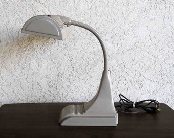 Vintage Art Deco Streamline Desk Lamp in Grey. Circa 1950's.