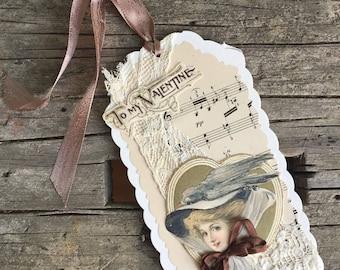 Handmade Vintage Style Valentine, Gift Tag, Multimedia Tag, Victorian Lady