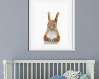 Squirrel Print, Nursery Wall Art, Squirrel Art, Squirrel Poster, Kids Room Animal, Squirrel Photo, Nursery Decor