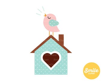 Songbird on Birdhouse Clipart Illustration for Commercial Use