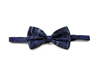 Navy Blue Marbled Bow Tie