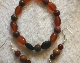 Carnelian, picasso jasper and lava stone diffuser bracelet; carnelian and picasso jasper earrings set