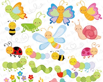 Bugs Clipart, Cute Bugs Clipart, Insect clip art, Bee, Butterfly, Ladybug, Grasshopper, Snail, Caterpillar, Dragonfly (CG222)